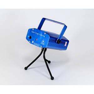 Лазерний проектор Диско LASER HJ09 2in1 Laser Stage з триногой Синій