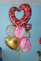 Вензельное сердце, шарики с конфетти и агаты
