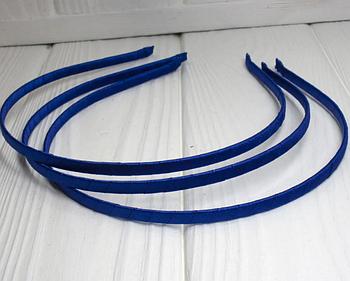 Обруч металлический обмотанный атласной лентой заготовка ободок 5 мм ширина синий