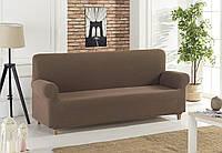 Коричневый чехол на диван без оборки универсального размера