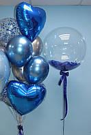 Синяя связочка и кристальный шар с перышками