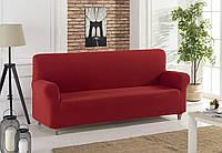 Бордовый чехол на диван без оборки универсального размера