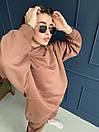 Спортивный костюм из трехнитки на флисе женский с свободным худи и штанами на манжетах (р. 40 - 58) 18so1188, фото 9