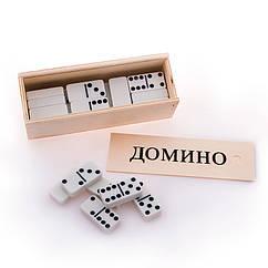 Домино белое в деревянной коробке, 4010D