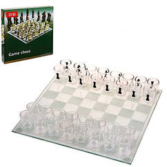 Шахматы, шашки стеклянные, фигуры стакан, 3 в 1