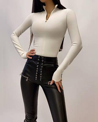 Жіноче боді - гольф однотонний з блискавкою на грудях і довгим рукавом (р. 42, 44) 2018447