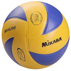 Мяч волейбольный Mikasa MVA200 PVC желт/синий. Скидка