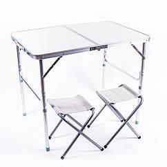 Стол туристический, алюминий, пластик, 2 стула, 90х60х70/55cm, HX-960.