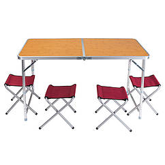 "Стол туристический, алюминий, пластик ""бамбук"", 4 стула, 120х60х70/55cm, HX-9004D."