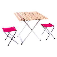 Стол туристический, алюминий, бамбук, 2 стула, 65х65х65см, C03-13.