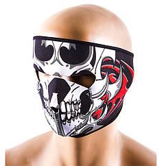 """Маска для лица, ветрозащитная, полнолицевая, """"череп""""."""