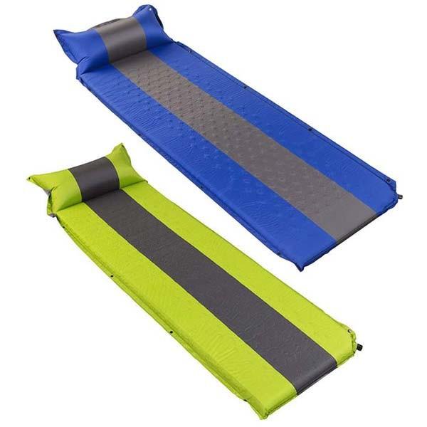 Килимок туристичний надувний 188х64х3/8см, синій, салатовий.