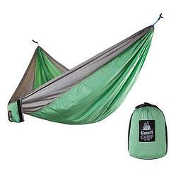 """Гамак GreenCamp """"CANYON"""", 310*220 см, парашутний шовк, сірий/зелений, кріплення, до 180кг."""