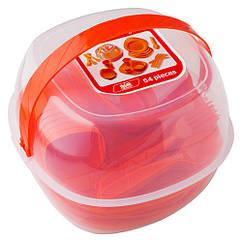 Набор туристической посуды GreenCamp, пластик, 54 предмета, оранжевый