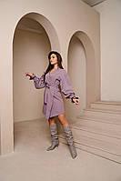 Жіноче плаття,Тканина -трикотаж принт напилення, креп дайвінг ,з декором (50-56)