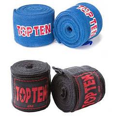 Бинт боксерский 4м, TopTen, пара, синий, черный