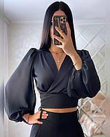 Женская блуза с иммитацией запаха и рукавами фонариками (р. 42-52) 20mru432, фото 1