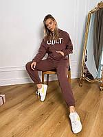 Теплый женский костюм в спортивном стиле с надписью на худи и манжетами (р. S-M) 66mko1636Q, фото 1