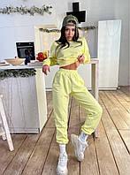 Жіночий костюм двійка з укороченим свитшотом на гумці і штанами джоггерами (р. S, M) 71mko1641, фото 1