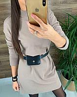 Вязаное платье - туника выше колена прямого кроя с воротником - стойкой и поясом (р. 42-46) 86mpl1963R