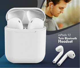 Беспроводные наушники  InPods 12 Macaron Белые в стиле Apple AirPods сенсорные с кейсом
