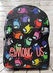 Детский подростковый рюкзак для мальчика Among us Амонгас нейлон черный