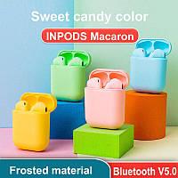 Беспроводные наушники  InPods 12 Macaron в стиле Apple AirPods сенсорные с кейсом Цвета