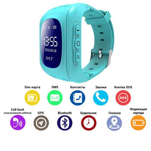 Смарт-часы детские с GPS Q50-1 Blue арт. 7566