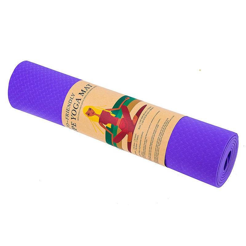 Йогамат, коврик для фитнеса, TPE+TC, 1слой, 6мм, 183*61*0,6 см, фиолетовый.