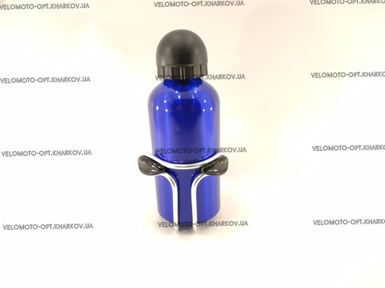 Фляга алюминиевая 350мл, пищевая с креплением, синяя