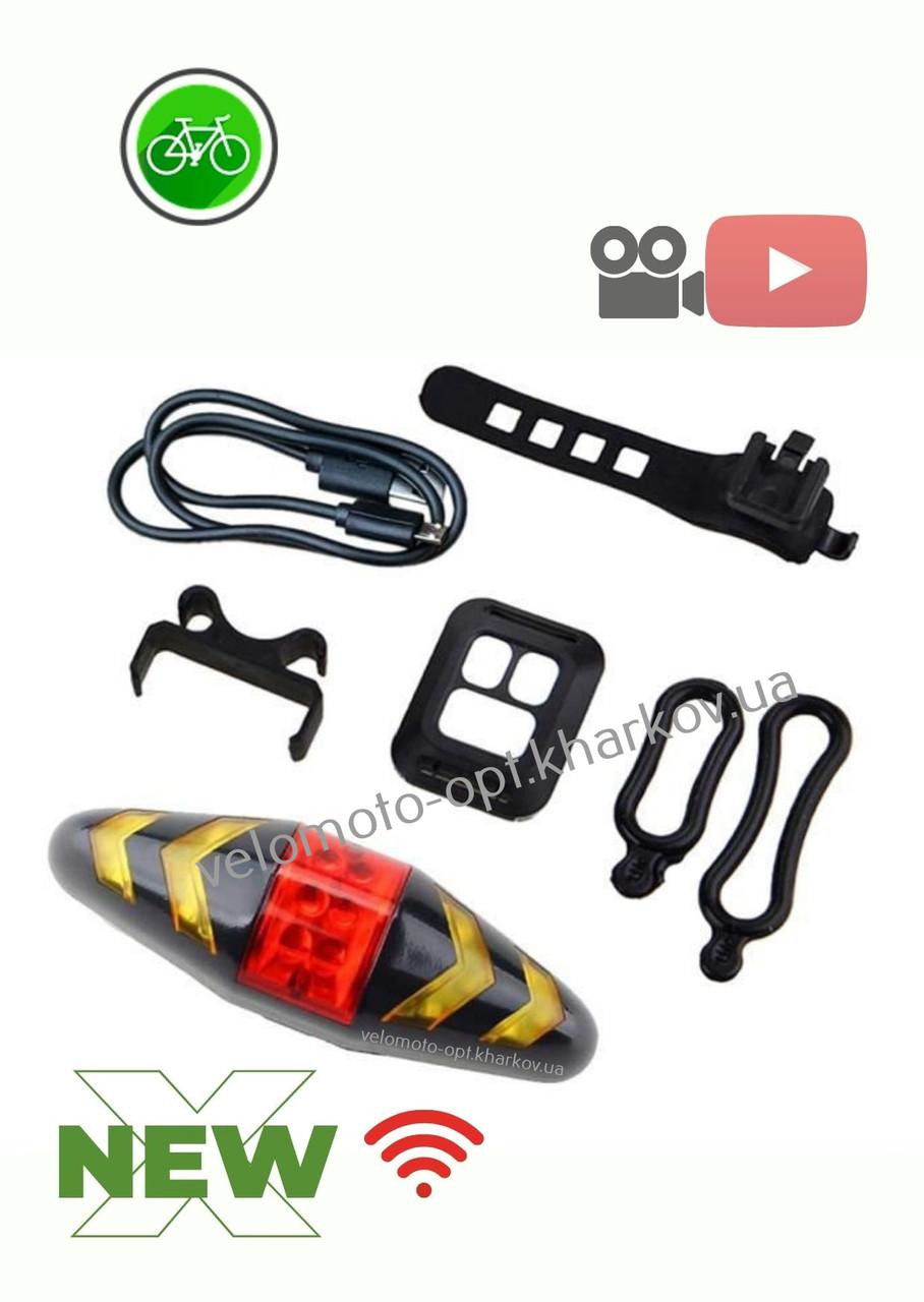 Велофонарь, задний стоп/габарит с указателями поворотов, USB, GA-113