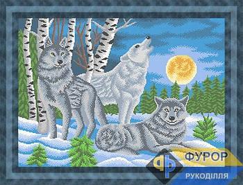 Схема для вышивки бисером картины Волки при свете луны (ЖБп2-015)