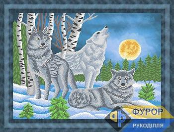Схема для вышивки бисером картины Волки при свете луны (ЖБч2-016)
