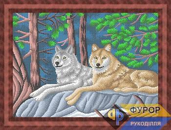 Схема для вышивки бисером картины Пара волков в лесу (ЖБп2-017)
