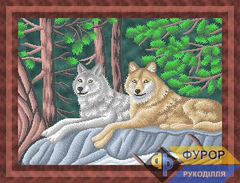 Схема для вышивки бисером картины Пара волков в лесу (ЖБч2-018)