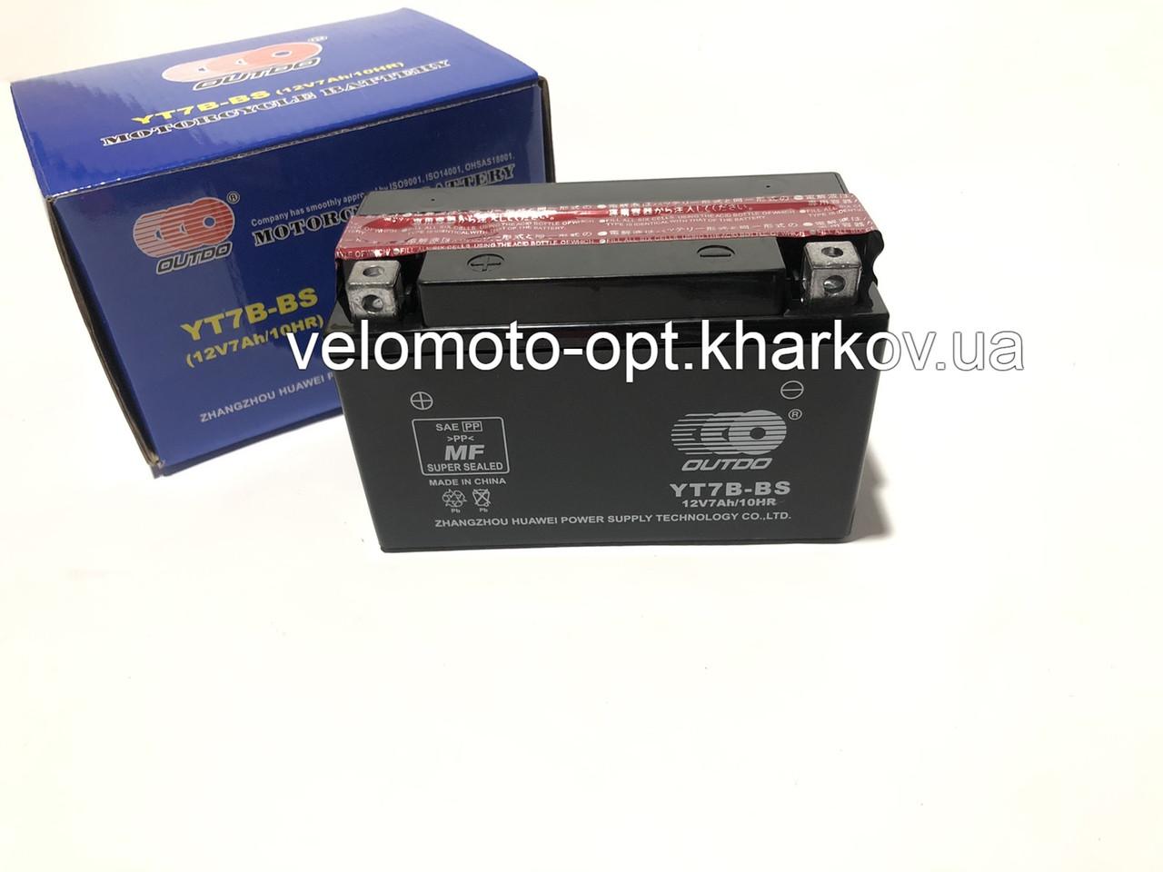 Аккумулятор мото Outdo YT7B-BS 12V7Ah/10HR кислотный узкий