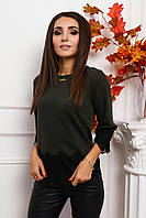 Блуза з мереживом трикотажна жіноча ХАКІ (ПОШТУЧНО), фото 1