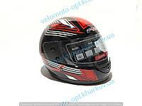 Шлем интеграл F2 Wind, черно красный глянец прозрачный визор