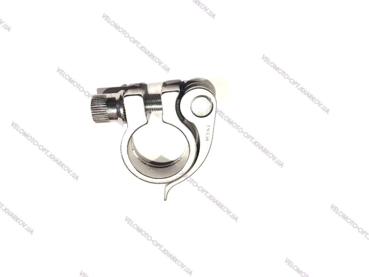 Хомут підсідельний 31.8 мм +ексцентрик, під трубу діаметром 28.6 мм, срібло