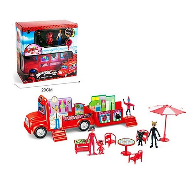 Набір іграшок автобус і фігурка Леді в червоному з котом