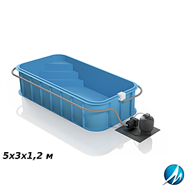 Полипропиленовый бассейн 5х3х1,2 м