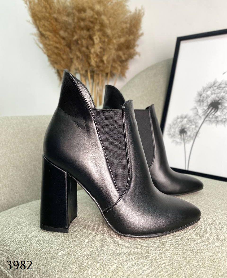 Женские кожаные демисезонные ботильоны на каблуке 36-40 р чёрный