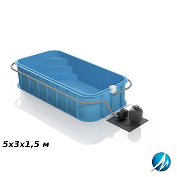 Полипропиленовый бассейн 5х3х1,5 м
