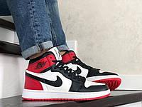 Кроссовки мужские демисезонные в стиле Nike Air Jordan Белые с черным красные