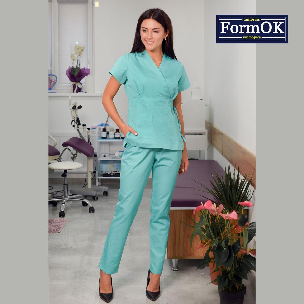 Женские медицинские костюмы Эдельвика салатовый 56