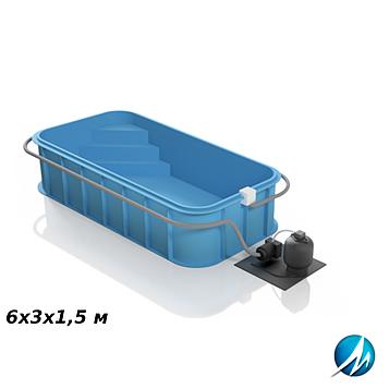 Полипропиленовый бассейн 6х3х1,5 м