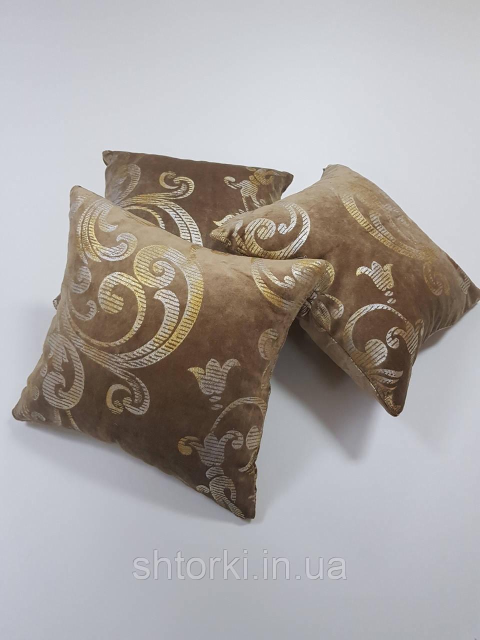 Комплект подушек зеленый с золотым вензелем, 4шт