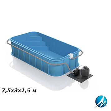 Полипропиленовый бассейн 7,5х3х1,5 м