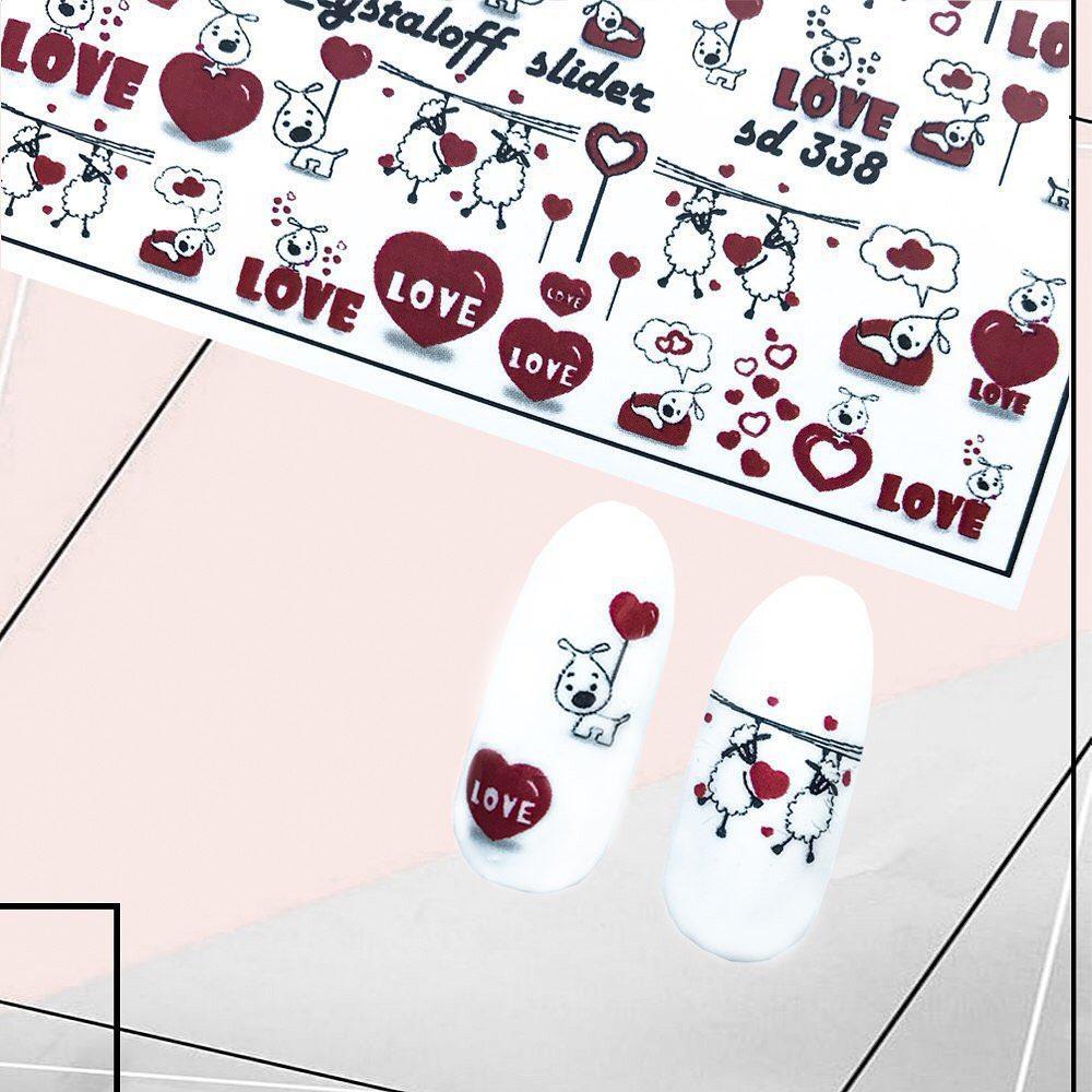 Слайдеры Водные Наклейки СЕРДЕЧКИ LOVE Слайдер дизайн надписи для дизайна ногтей Crystaloff Slider 338