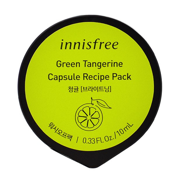 Капсульні маски для обличчя Innisfree Capsule Recipe Pack Зелений мандарин 10 мл